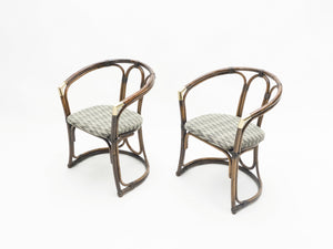 Mid-Century Modern French Riviera Bamboo and brass Armchairs 1960s