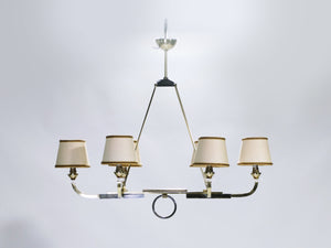 Jacques Adnet brass and gunmetal chandelier 1950's