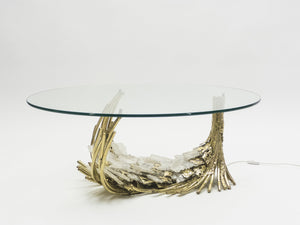 Unique Hollywood Regency Jacques Duval Brasseur bronze stones coffee table 1970s