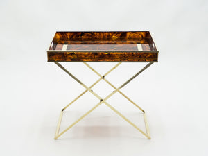 Rare French side tray table Faux Tortoise brass Maison Mercier 1970s