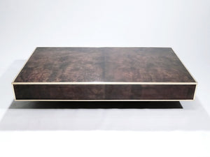 Large goatskin parchment coffee table by Aldo Tura 1960's