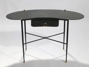 French Jacques Adnet leather desk vanity with stool 1940s