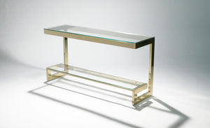 Guy Lefevre large brass console table for Maison Jansen 1970s