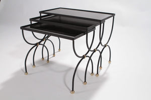 Maison Jansen black and brass nesting tables 1960s