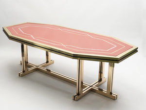Unique red lacquer and brass Maison Jansen dining table 1970s