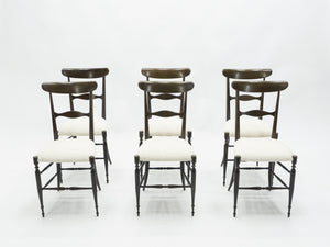 Rare set of six Campanino Chiavari walnut chairs by Fratelli Levaggi 1950