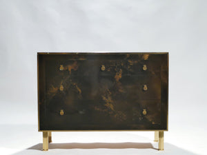 Rare golden lacquer and brass Maison Jansen chest of drawers 1970's