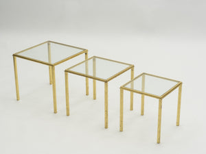 Mid-century Roger Thibier gilt wrought iron gold leaf nesting tables 1960s
