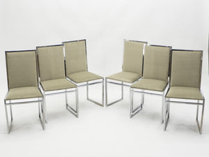 Set of six Mid Century chairs Metal Arredo Milan chrome burl 1970s
