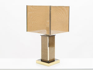 Mid-century Italian brass lacquer cane table lamp 1970s
