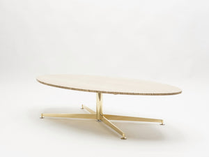 Grande table basse Michel Kin pour Arflex travertin et laiton 1960