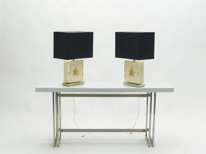 Pair of large Mid-century J.C. Mahey white lacquer brass table lamps 1970s
