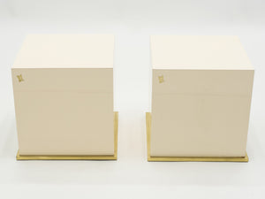 J.C. Mahey lacquer and brass cube end tables 1970s