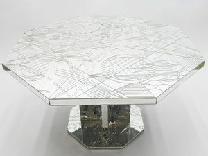 Rare mirror mosaic dining table signed by Eugene C. 1980s