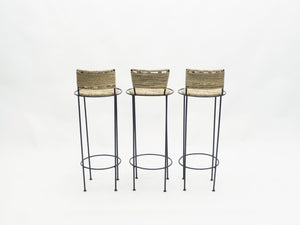 Set of 3 french bar stools rope and metal by Audoux Minet 1950s