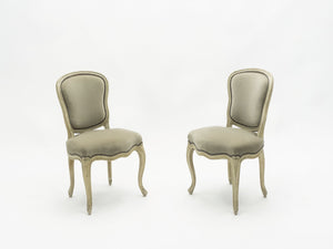 Rare pair of stamped Maison Jansen Louis XV neoclassical chairs 1940s