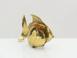 Unique Jacques Duval Brasseur brass agate stone lamp 1970s