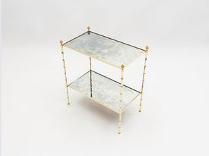 Pair of French Maison Baguès bamboo brass mirrored two-tier end tables 1960s