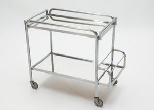Jacques Adnet art deco mirrored bar cart trolley 1930s