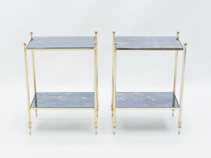 Pair of French Maison Jansen brass mirrored two-tier end tables 1960s
