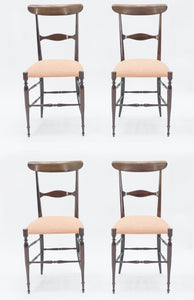 Rare set of four Campanino Chiavari walnut chairs by Fratelli Levaggi 1950
