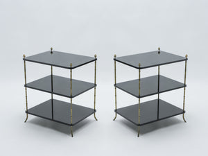 Pair of French Maison Baguès brass black lacquer three-tier side tables 1950s