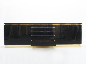 Large Signed J.C. Mahey brass black lacquered sideboard 1970s