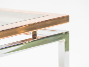 Square chrome and copper coffee table Guy Lefevre for Maison Jansen 1970s