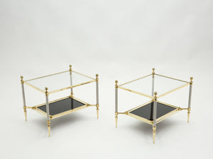 French two-tier Maison Jansen brass opaline glass end tables 1970s