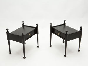 Pair of French Night Stands black tinted wood and brass 1970s