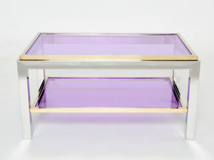 Pair of Two-Tier brass chrome end tables Willy Rizzo Flaminia 1970s