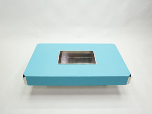Willy Rizzo blue lacquer and chrome bar coffee table Alveo 1970s
