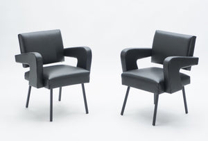 "Pair of Jacques Adnet ""President"" leatherette armchairs 1959"