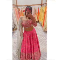Neon Pink Art Silk Lehenga Choli With Soft Net Dupatta