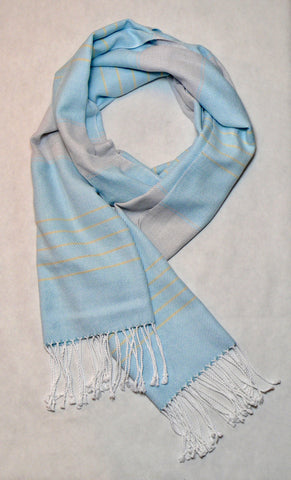 Ice Blue and Grey Striped Scarf