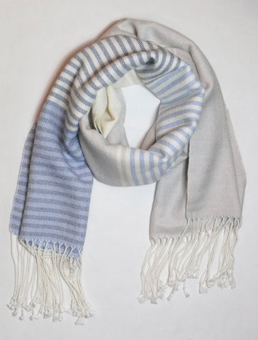 Dove Grey and Powder Blue Striped Scarf