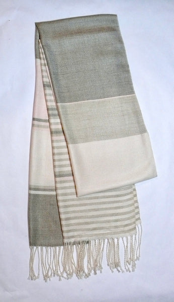 Olive and Blush Striped Scarf