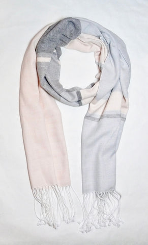 Dusty Purple, Blush and and Grey Striped Scarf