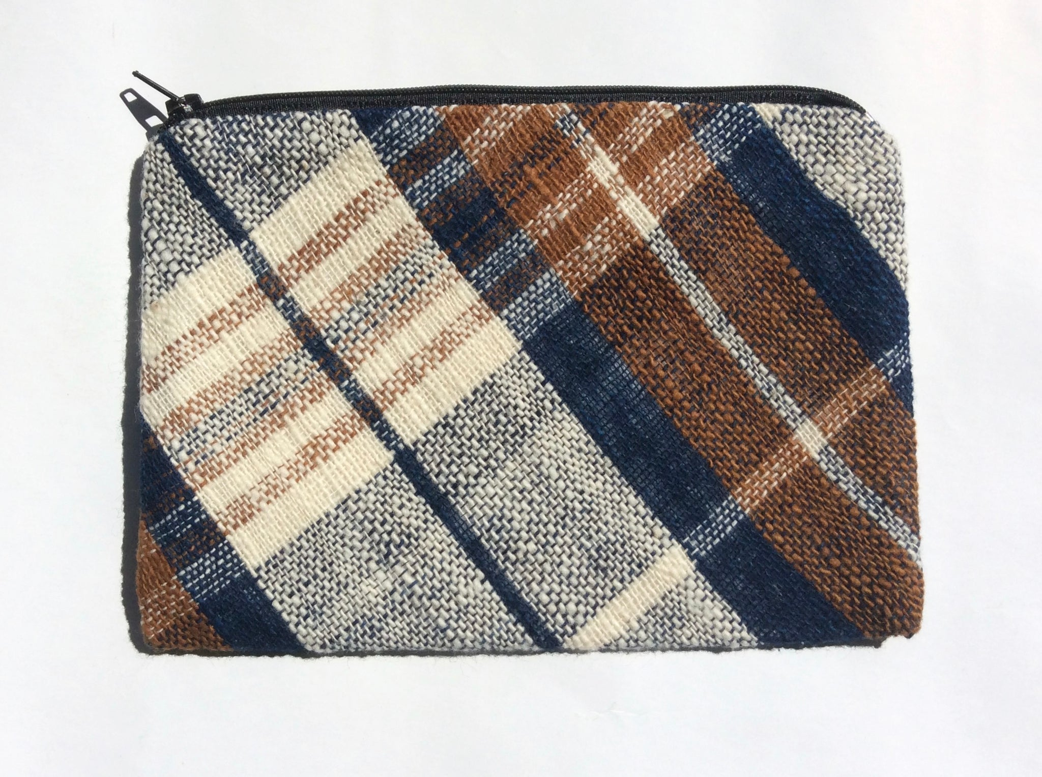 Indigo and Toffee  Checkered Pouch