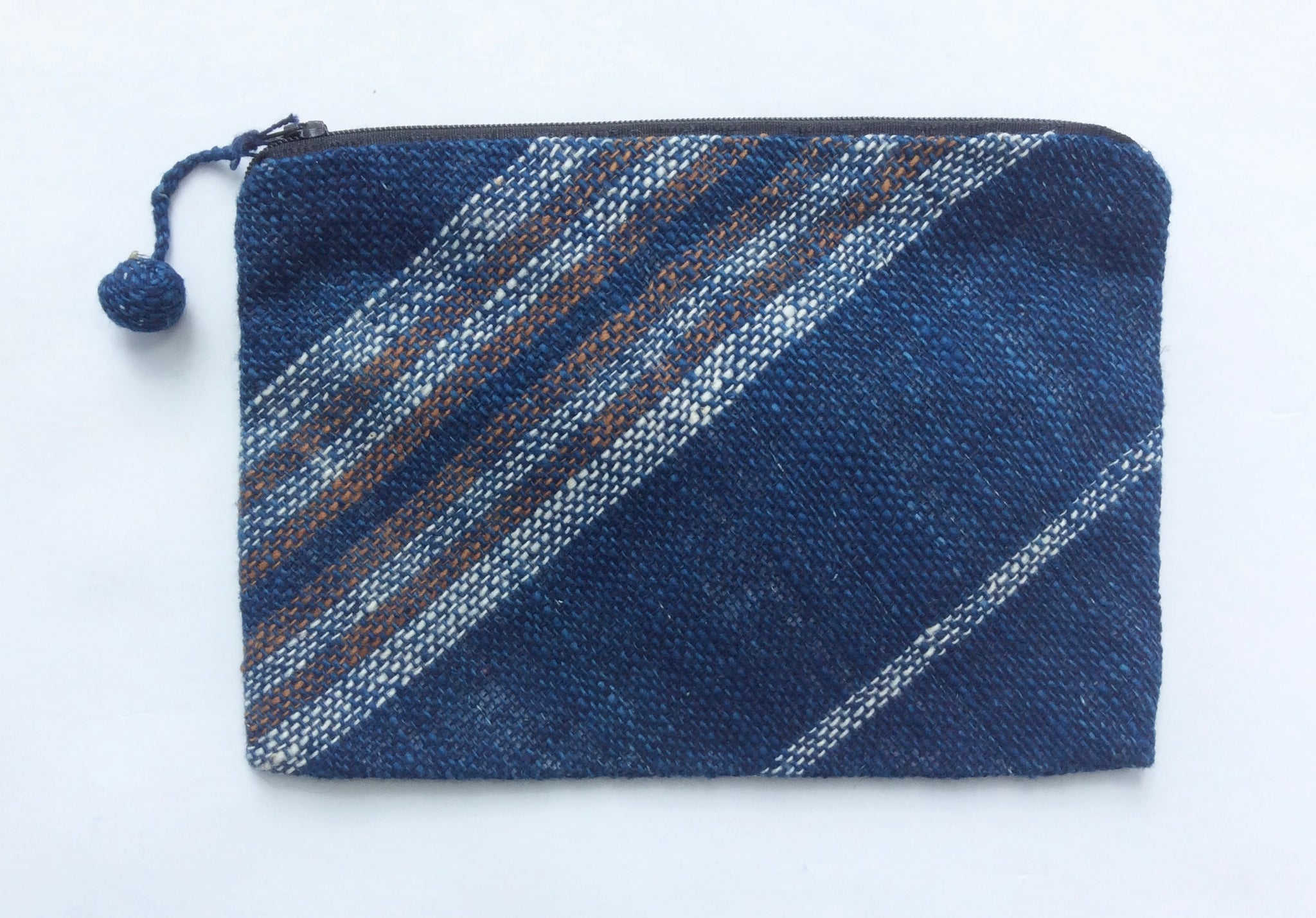 Indigo and Toffee Striped Pouch