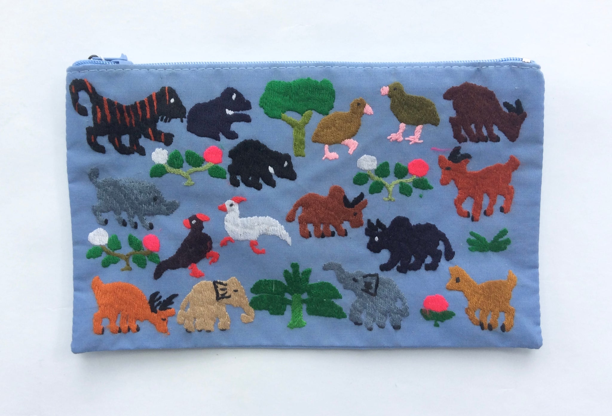 Hmong Embroidered Pouch - Light Blue Animals