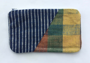 Striped and Checkered Patchwork Pouch