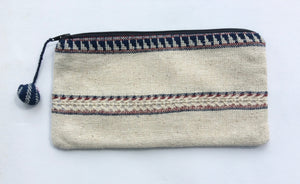 Indigo and Cherry Open Weave Pouch