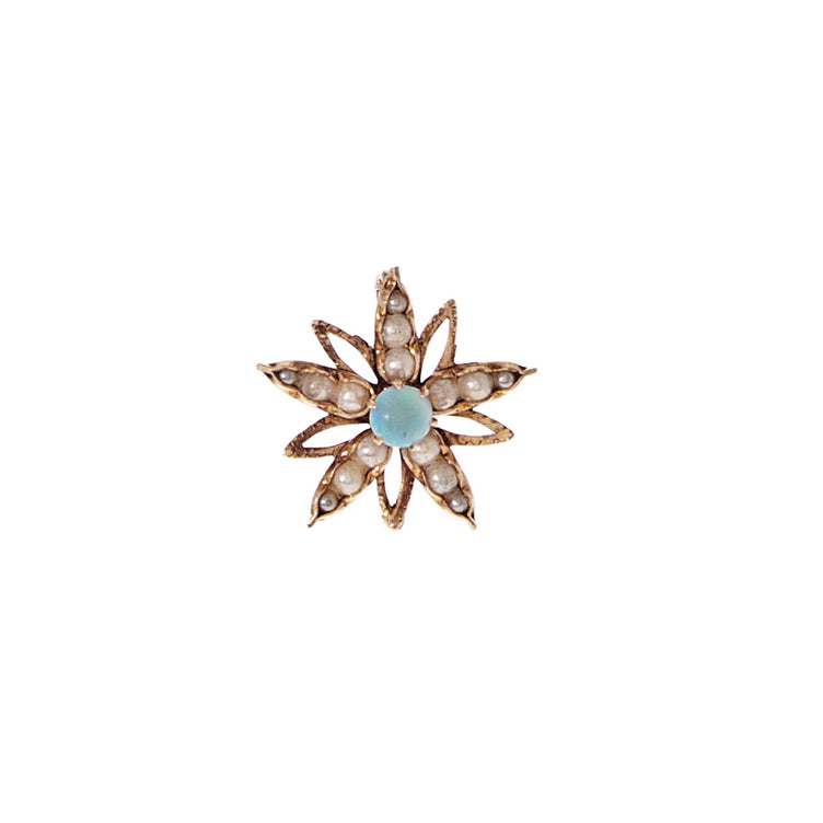 Victorian Opal and Pearl Flower Slide Pendant