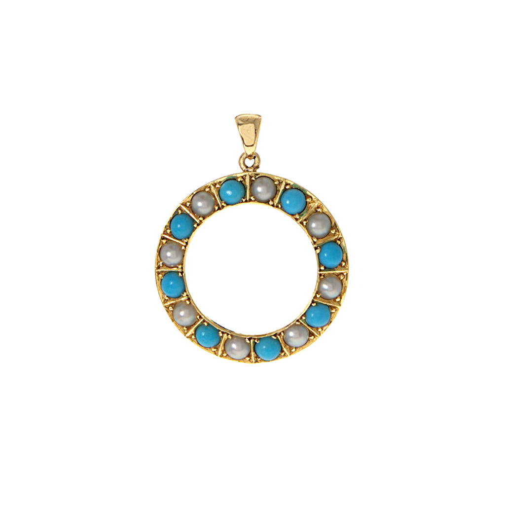 Turquoise and Pearl Halo Pendant