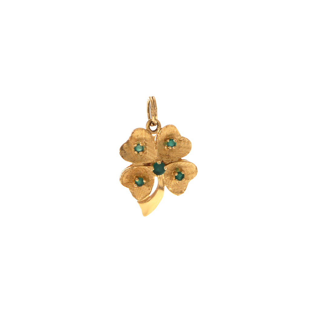 Golden Clover with Emeralds