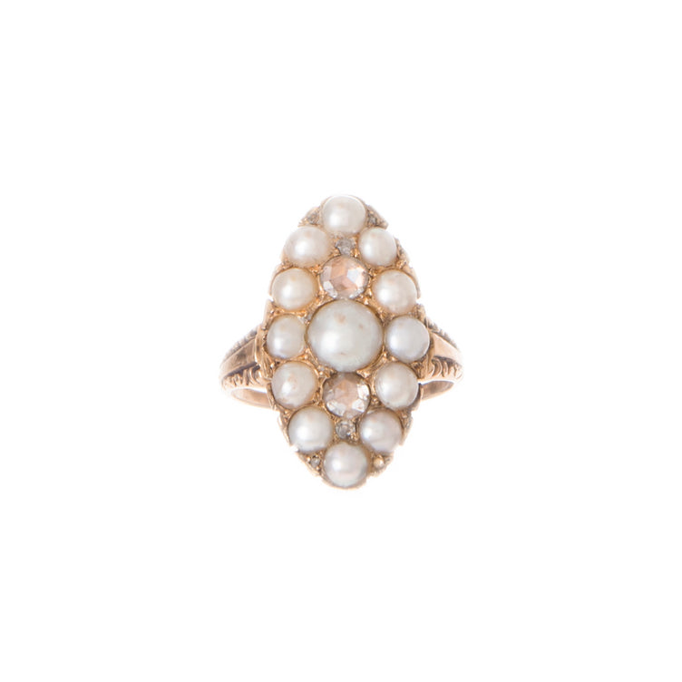 Victorian Pearl and Diamond Navette Ring