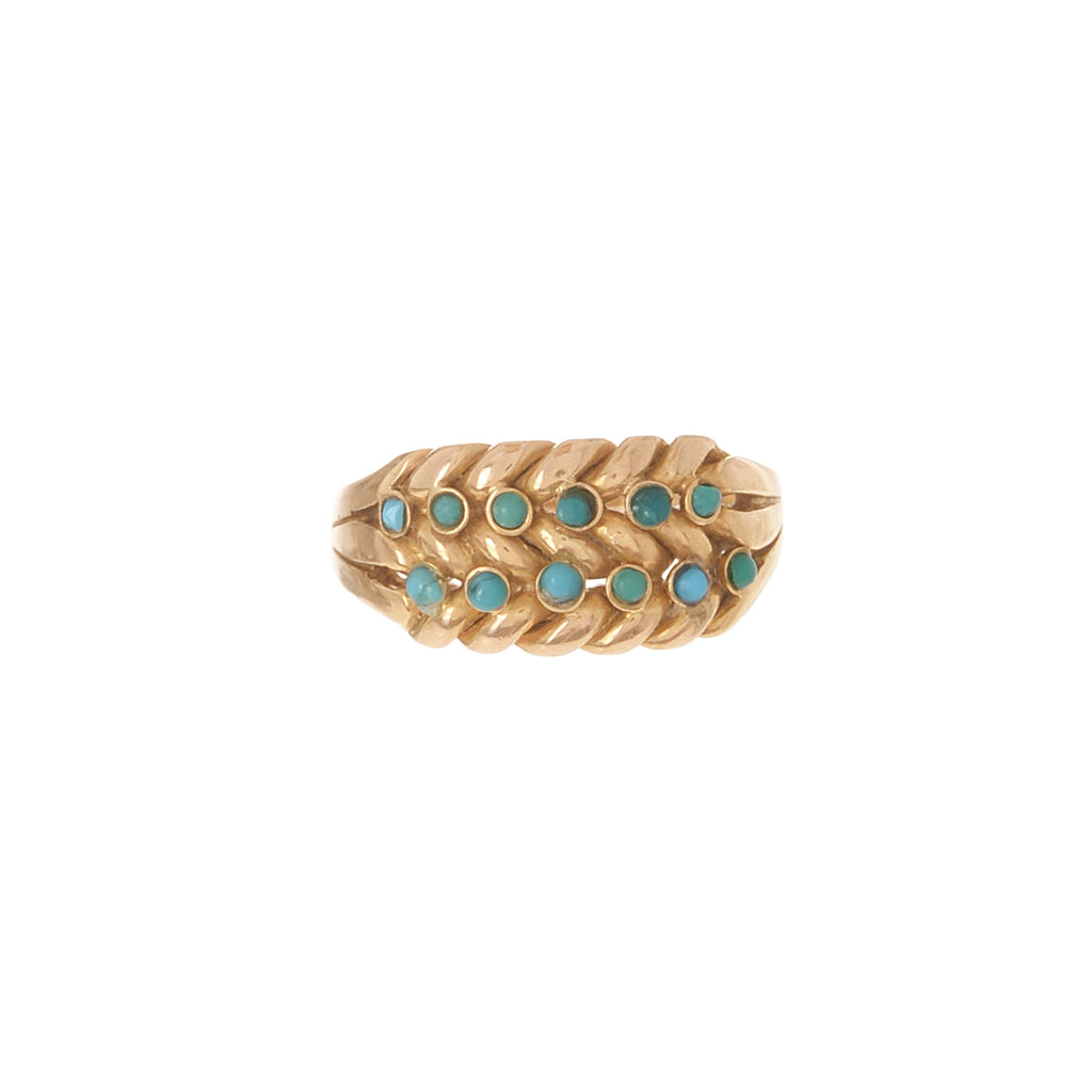 English Turquoise Braided Ring