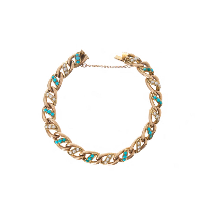 Victorian Turquoise & Seed Pearl Curb Bracelet