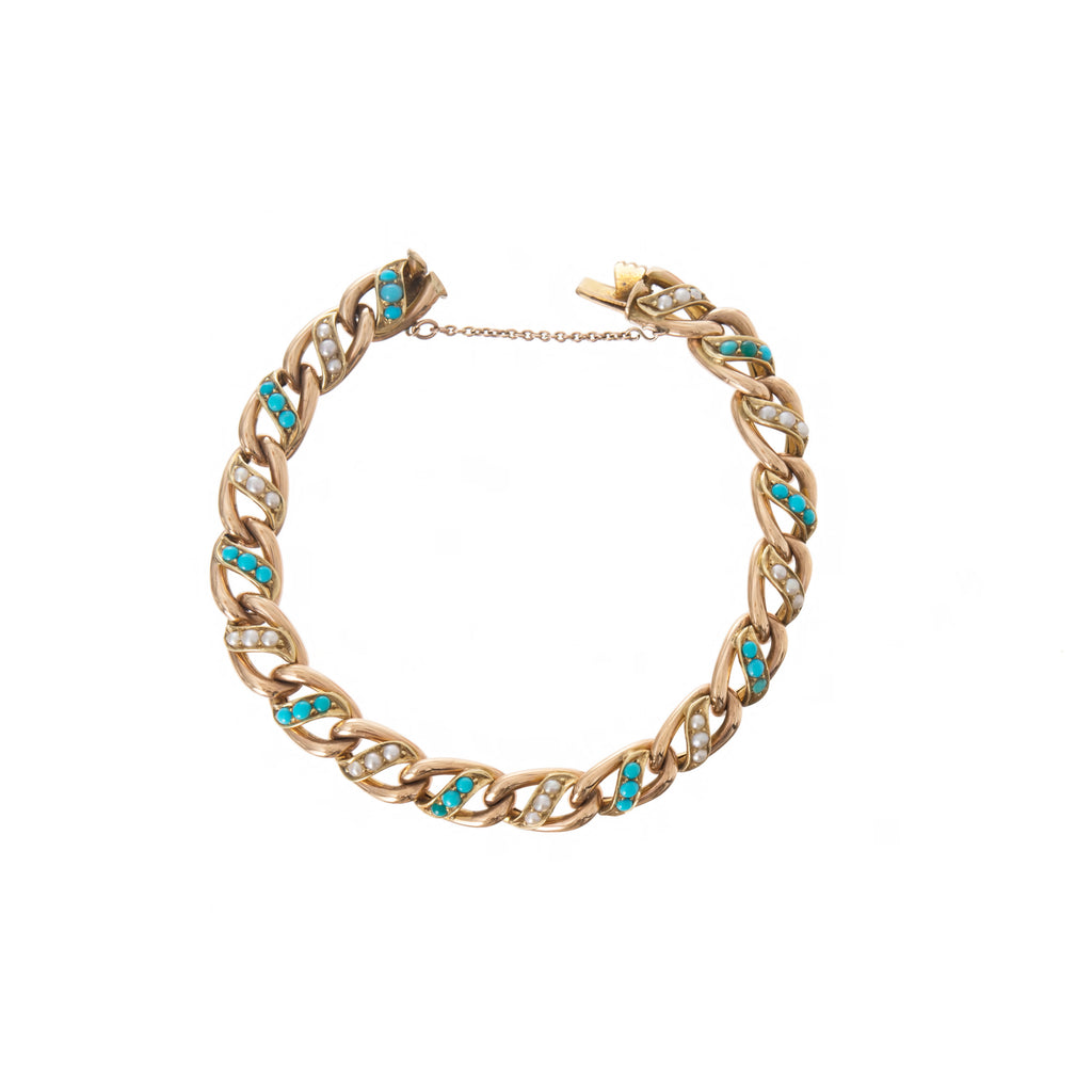 Victorian Turquoise & Seed Pearl Curb Bracelet -- Ariel Gordon Jewelry